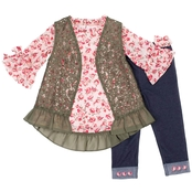 Little Lass Toddler Girls 3 pc. Boho Vestie Set