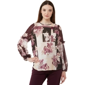 Calvin Klein Long Sleeve Printed Top with Ruffle