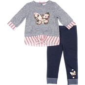 Little Lass Toddler Girls 2 pc. Butterfly Tie Hacci Top and Leggings Set