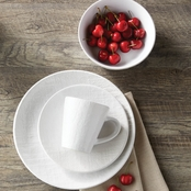 Simply Perfect 16 pc. White Embossed Dinnerware Set