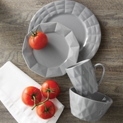 Simply Perfect 16 pc. Gray Diamond Dinnerware Set