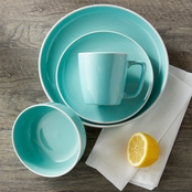 Simply Perfect 16 pc. Teal / White Rim Dinnerware Set