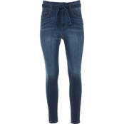 Almost Famous Juniors High Rise Self Belt Skinny Jeans