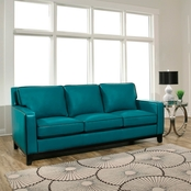 Abbyson Ibiza Aquamarine Leather Sofa