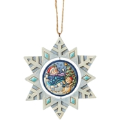 Jim Shore Heartwood Creek Snowflake with Snowman Promo Hanging Ornament
