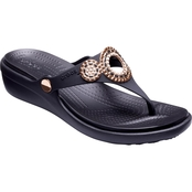 Crocs Women's Sanrah Diamante Wedge Flip Flops