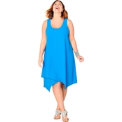 Avenue Plus Size Crossover Sharkbite Hem Dress