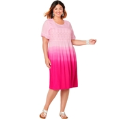 Avenue Plus Size Eyelet Trim Dip Dye Dress