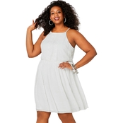 Avenue Plus Size Embroidered Crinkle A-Line Dress