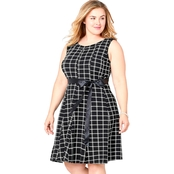 Avenue Plus Size Black and White Plaid Fit and Flare Dress