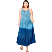 Avenue Plus Size Dip Dye Embroidered Maxi Dress