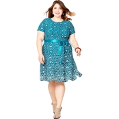 Avenue Plus Size Fit and Flare Floral Print Dress