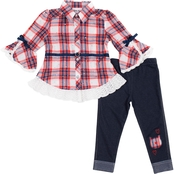 Little Lass Little Girls Yard Dye Plaid Disco Dot 2 pc. Leggings Set