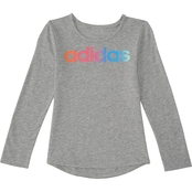 adidas kids Little Girls Ruffle Melange Top