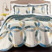 Martha Stewart Collection Wedding Rings Blue Full/Queen Quilt