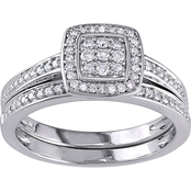 Diamore 1/4 CTW Diamond Square Halo Bridal Set in Sterling Silver