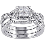 Diamore 1/2 CTW Diamond Halo 3-Piece Bridal Set in Sterling Silver