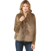 Passports Faux Fur Chevron Vest