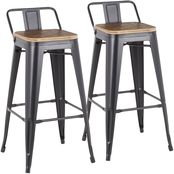 LumiSource Oregon Low Back Barstool 2 pk.