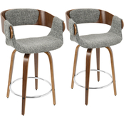 LumiSource Elisa Mid Century Modern Counter Stool 2 pk.