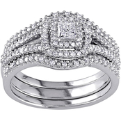 Diamore 1/2 CTW Diamond Halo 3 pc. Bridal Set in Sterling Silver