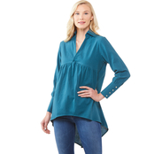 JW High Low V Neck Woven Top