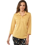 PASSPORTS 3/4 SLEEVE BUTTON FRONT FLAP POCKET SHIRT IN GOLD
