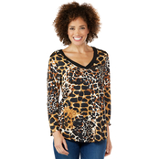 Passports V Neck Cheetah Print Top