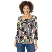 Passports Floral Paisley Puff Print Top