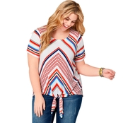 Avenue Plus Size Mitered Stripe Tie Front Top