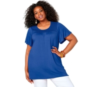 Avenue Plus Size Flutter Sleeve Smocked Top