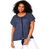 Avenue Plus Size Star Tie Front Top