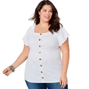 Avenue Plus Size Square Neck Gauze Top