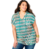 Avenue Plus Size Tropical Leaf Print Hoodie