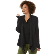Passports Rib Open Cardigan with Pointelle