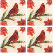 Pfaltzgraff Holiday Wintertime Birds Set of 4 Coasters