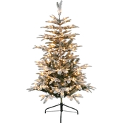 Puleo 4.5 ft. Pre Lit Flocked Aspen Fir Christmas Tree with 250 Lights