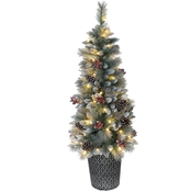 Puleo 4.5 ft. Pre-Lit Potted Sterling Pine Tree with 70 Lights