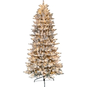 Puleo 7.5 ft. Pre Lit Flocked Slim Fraser Fir Christmas Tree with 500 Lights