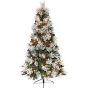 7.5 ft. Pre-Lit Flocked Pacific Pine Christmas Tree with 400 Lights