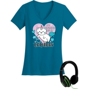 Pony Tails Little Girls My Caturday Love Tee with DJ Headphones