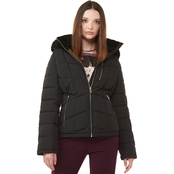 Calvin Klein Zip Front Puffer Coat With Removeable Hood