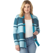 Passports Open Front Plaid Cardigan