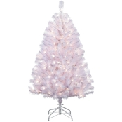 Puleo 4.5 ft. Pre Lit White Noble Fir Christmas Tree with 250 Clear Lights