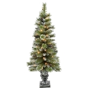 4 ft. Pre-Lit Potted Glitter Pine Christmas Tree 50 Lights