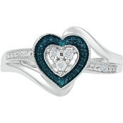 STERLING SILVER WITH TREATED BLUE & WHITE DIAMOND ACCENT HEART RING