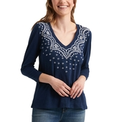 Lucky Brand V Neck Embroidered Three Quarter Sleeve Tee