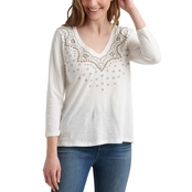 Lucky Brand V Neck Embroidered Tee