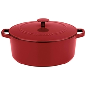 Cuisinart Chef's Classic Enameled Cast Iron Round Caserole in Cardinal, 7 qt.
