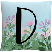 'Pink Floral Garden Letter Illustration A' By ABC Decorative Throw Pillow